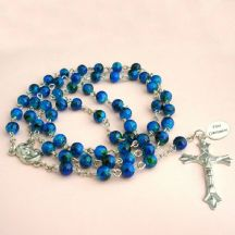 Rosary Beads in Navy with Engraving